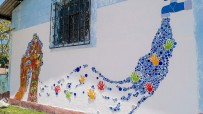 Mosaic on the theme of water on a facility in Quiché, Guatemala